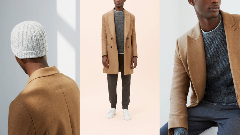 Бежевое мужское пальто